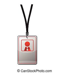 Security ID pass on a black lanyard. Isolated on white, ...