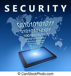 Security illustration with tablet computer on blue background