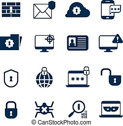 Security information system, web protection vector icons