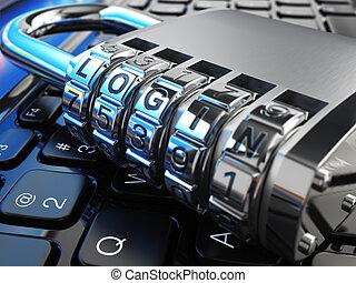 security internet, concept., laptop, og, pengeskab, lås, hos, login.