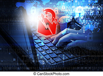Security internet concept of woman using laptop with warning key
