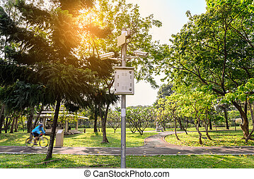 Security IR camera for monitor events in urban park.