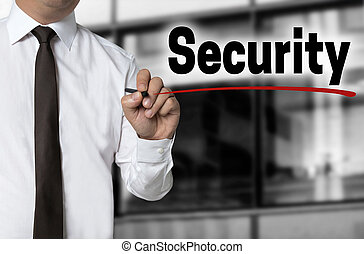 Security is written by businessman background concept