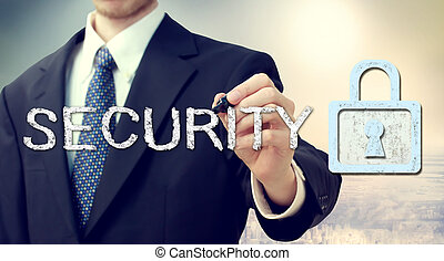 Security key lock with businessman - Businessman drawing...