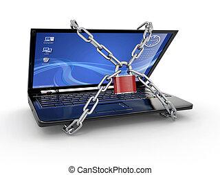 security., laptop pc, kettensperre