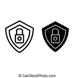 Security line and glyph icon. Shield and lock vector illustration isolated on white. Shield with padlock outline style design, designed for web and app. Eps 10.