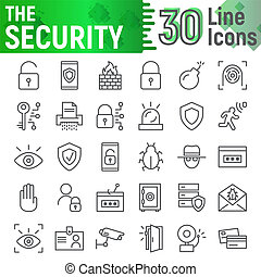 Security line icon set, protection symbols collection, vector sketches, logo illustrations, defense signs linear pictograms package isolated on white background.