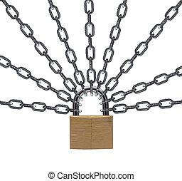 security lock. - security lock concept close up.