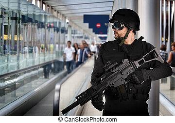 security lufthavn, bevæbnet, politi