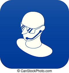 Security man icon blue vector