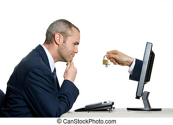 man in blue suit accessing internet security