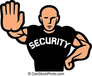 security man of nightclub (security guard of nightclub, bouncer)