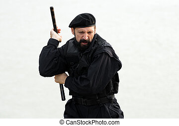 security man with nunchaku