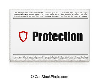 Security news concept: newspaper headline Protection and Contoured Shield icon on White background, 3d render