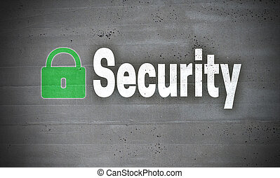 Security on concrete wall background