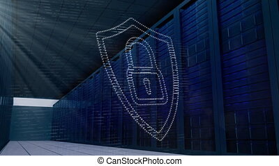 Digital animation of Security padlock icon and glowing spot of light against multiple servers. Digital online security computer conceptÂ
