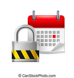 Security padlock and calendar