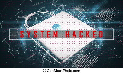 Security padlock and system hacked text against web of ...