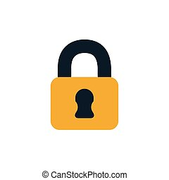 security padlock closed flat style icon