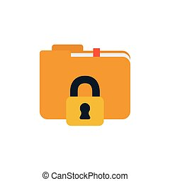 security padlock closed with folder flat style