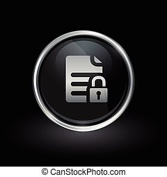 Security padlock file icon inside round silver and black emblem