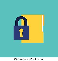 security padlock flat icon vector illustration design