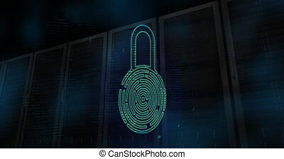 Digital animation of Security padlock icon and glowing spot of light moving against multiple servers on black background. Digital online security computer concept