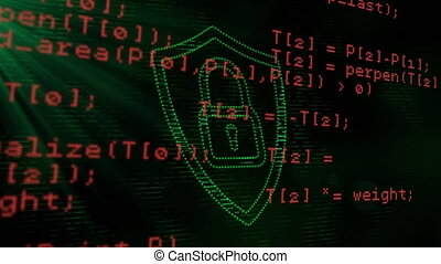 Security padlock icon and data processing against black ...