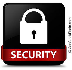 Security (padlock icon) black square button red ribbon in middle