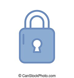 security padlock icon, blue outline style
