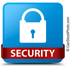 Security (padlock icon) cyan blue square button red ribbon in middle