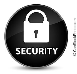 Security (padlock icon) elegant black round button