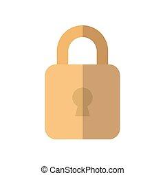 security padlock icon, flat style