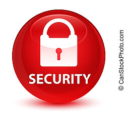 Security (padlock icon) glassy red round button