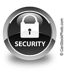 Security (padlock icon) glossy black round button