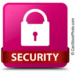 Security (padlock icon) pink square button red ribbon in middle