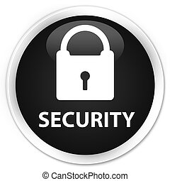 Security (padlock icon) premium black round button