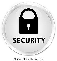 Security (padlock icon) premium white round button