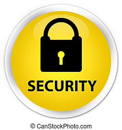Security (padlock icon) premium yellow round button