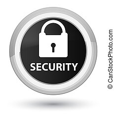 Security (padlock icon) prime black round button