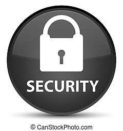 Security (padlock icon) special black round button