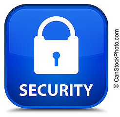 Security (padlock icon) special blue square button
