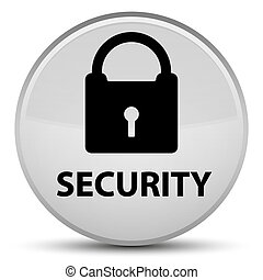 Security (padlock icon) special white round button