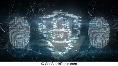 Security padlock icons and human hand scanning over fingerprint biometric scanner. cyber security and technology concept