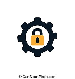 security padlock in gear flat style icon
