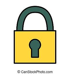security padlock on white background