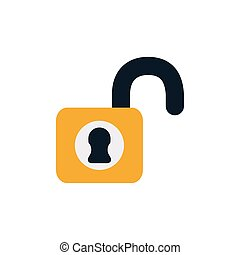 security padlock open flat style icon