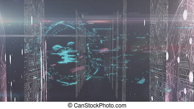 Animation of digital interface data processing with online security padlock and circuit board screens. Global technology online network concept digitally generated image.