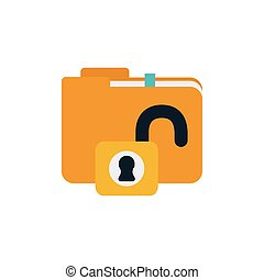security padlock with folder flat style icon