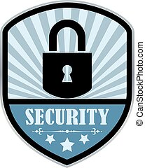 Security retro label isolated on white background